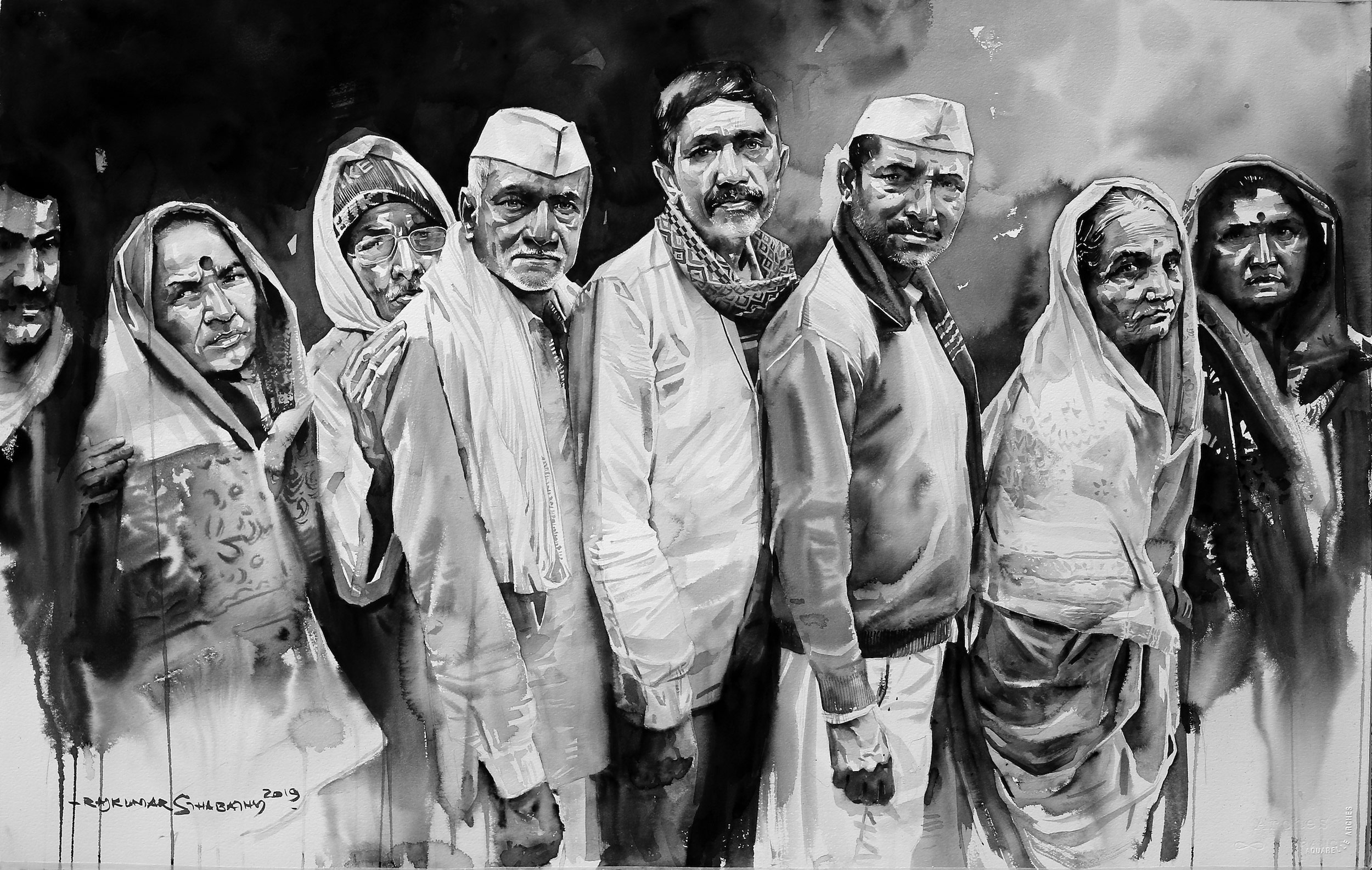 Rajkumar-Sthabathy,-Queue-for-something,-Watercolor-on-paper